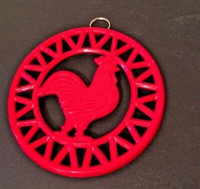 Red Rooster Heavy Cast Iron Metal Footed Trivet Hot Plate/wall Handing