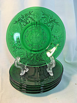Vintage Bartlett-Collins Daisy Sandwich Glass Grass Green Small Dishes 5 In Set