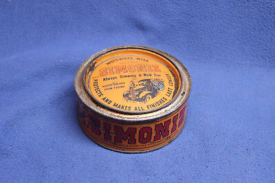 Vintage Simoniz Car Wax Tin Can Container Automobile Advertising