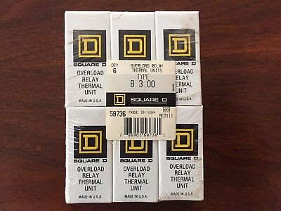 Square D Overload Relay Thermal Unit B 3.00 (Lot Of 6)