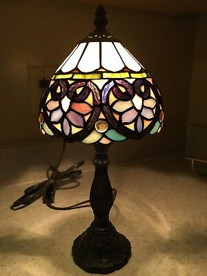 """Tiffany Style Stained Glass Accent Lamp - 15"""" tall"""