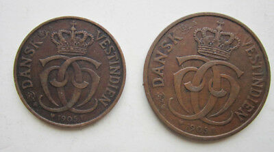 Two 1905 Danish West Indies coins: 5 and 10 bit
