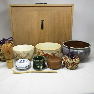 B121: Japanese tea tools for powdered green tea w/wooden storage box