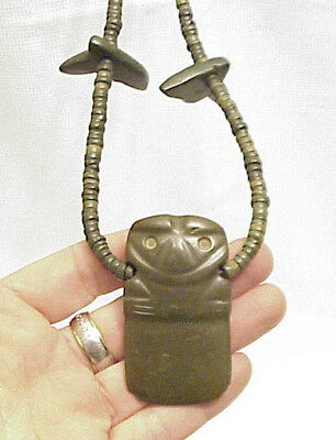 Unknown Carved Anthropomorphic Jade Celt Effigy Necklace Asian African Columbian