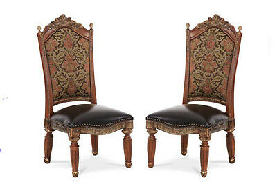 Pair of 2 Very Large Ornate Spanish Revival Chestnut Dining Chairs by Amini