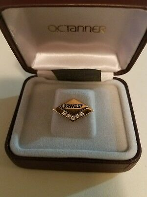 10K Gold 5 Diamond 1.3 gram USWest  Service Pin  with Box (QWest)