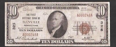Rare Low Serial # First National Bank Of Danville Pa. Charter 325