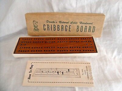Vintage DRUEKE Authentic American Design Cribbage Board Model 1 w/Box & Papers