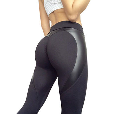 Heart Push Up Hips Leggings Leather Fitness Patchwork High Waist Pants Elastic