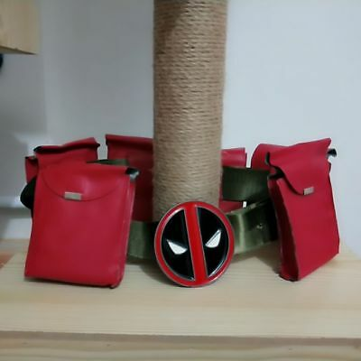 US SHIP Deadpool X-Men Superhero Red Belt Metal Accessories Costume Cosplay Prop
