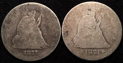 1874-S & 1877 Seated Liberty Quarter - 392,000 Mintage on 1874-S