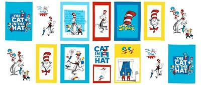 NEW Dr Seuss Robert Kaufman Cat in the Hat Book Quilt Fabric Panel craft panel