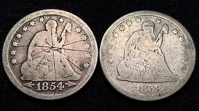 1854 & 1858 Seated Liberty SILVER Quarter