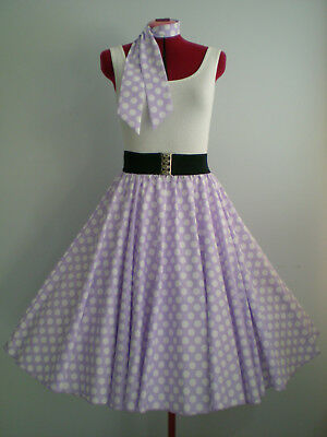 "GIRLS/CHILDS ROCK N ROLL/ROCKABILLY ""Spots"" SKIRT & SCARF 10-12 Lilac/White"
