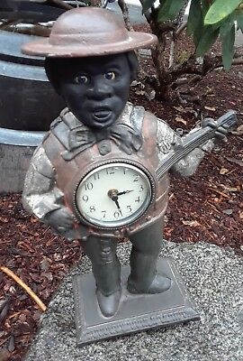 Vintage Cast Iron African American Black Man Male Banjo Player Working Clock