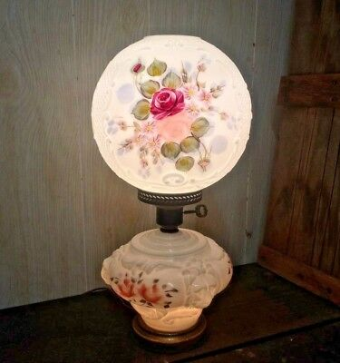 Vtg Electric Gtw Gone With The Wind Oil Style Parlor Lamp W/ Signed Floral Shade