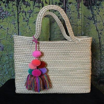 Large Hand Woven Palm Frond Bag with Pom Pom Tassels Michoacán Mexican Folk Art