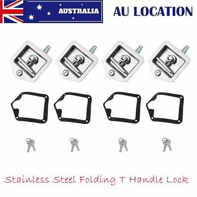x4 T LOCK T HANDLE LOCK RECESSED STAINLESS KEYED ALIKE TRAILER CARAVAN TOOLBOX