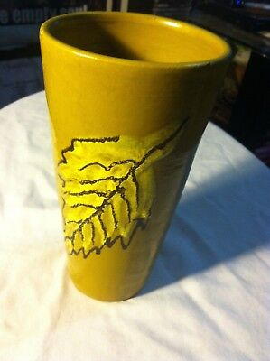 "Vintage Hand Crafted Clay Art 2 Leaved Pottery Cup 7 1/4"" Raised Leaf Designs"