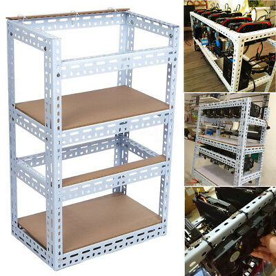 🇬🇧10GPU Crypto Coin Open Air Mining Frame Rig Case Steel Shelf Set For Bitcoin