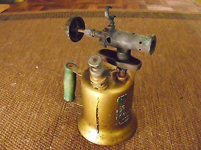 """Antique Vintage Gas Hand Held Brass Plumbers Torch Collectible Burner 10"""" Tall"""