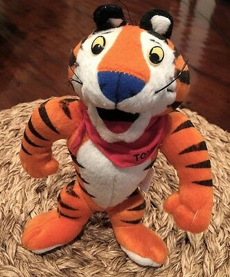 """Kellogg's Tony the Tiger 1997 Plush Toy Jointed Frosted Flakes 8"""" Vintage"""