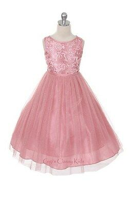New Flower Girls Dusty Rose Pink Dress Pageant Christmas Easter Party Fancy 299
