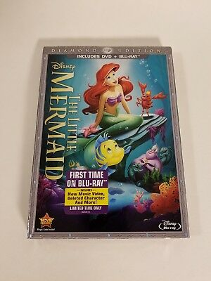 Disney Animated Masterpiece Little Mermaid DVD Blu-ray with Reflective Slipcover