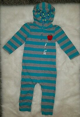 NWT Baby Gap Girls Hooded Apple Stripe Print Romper One-piece Outfit SZ 18-24 M