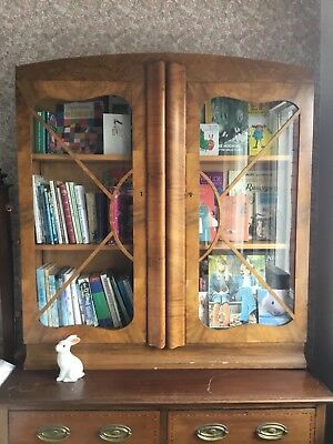 Art Deco Walnut bookcase with original glass
