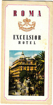 Roma Excelsior Hotel Rome Italy Illustrated Vintage Brochure Lobby Restaurant