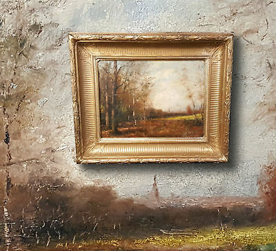 Antique Landscape Painting France,Signed François around 1860 Hand Colored Style