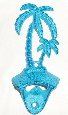 "Cast Iron Blue Painted Palm Tree Bottle Opener Wall Mounted 6"" Tall"