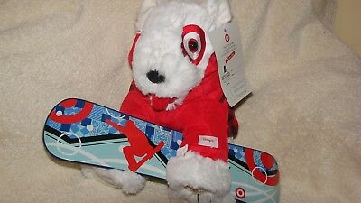 Cute Target Bull Terrier Bullseye Dog with Snowboard  NEW with Tags