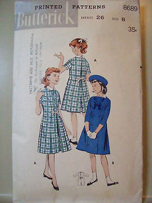 Butterick 8689 Vintage Girl's Princess Chemise Dress Pattern Size 8 USED