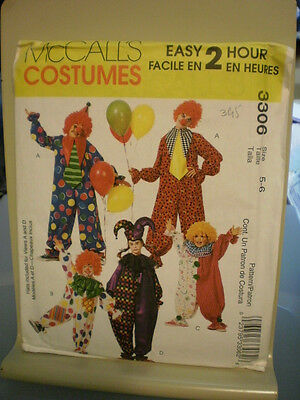 McCall's 3306 Child's Clown or Jester Costume Pattern Sizes 5-6