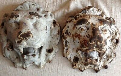 A pair vintage large cast iron lion heads rare