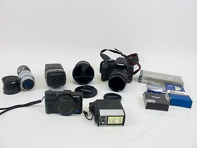Vintage Lot of Sony Canon Camera's Leica Lens & Photography Accessories