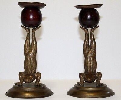 "Vintage Arthur Court Pair of Frog Candle Holders 7"" Brass/Wood 1977 set of 2"