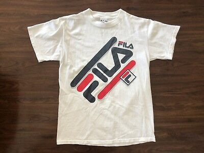 Vintage White FILA Big Logo Spellout Small T-Shirt 1990s Made In USA RARE