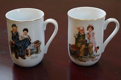 """Norman Rockwell Mug's """"The Cobbler & The Lighthouse Keepers Daughter"""" 1982 Set"""