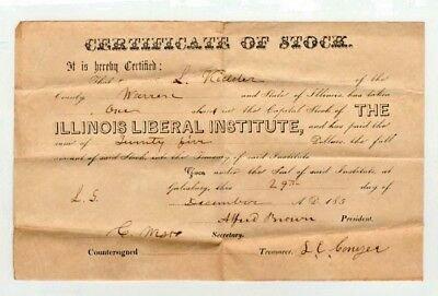 1850 Stock Certificate for The Illinoise Liberal Institute