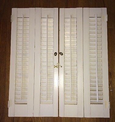 VINTAGE MID CENTURY Window Wood Louvered Shutter SET Of 2   26 1/2 X 11 5/8