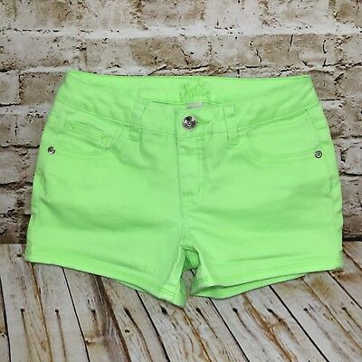 Justice Girls Jean Shorts Stretch Denim Neon Green Fluorescent Shortie Size 12 R