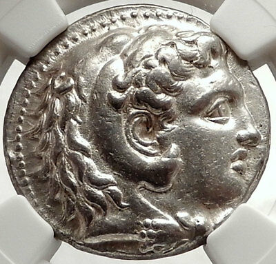 ALEXANDER III the GREAT Ancient 323BC Tetradrachm Greek Coin Zeus NGC AU i66670