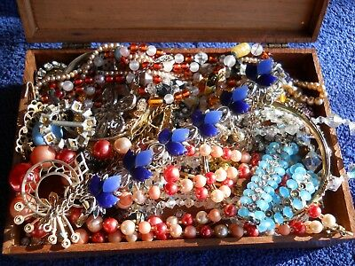 Large Lot Of Beautiful Antique & Vintage Jewelry Assortment With Jewelry Box