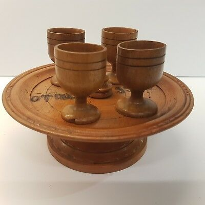 "Rare Vintage Wooden Hand Made Tray & 4 Cups, Bulgarian 1950's ""Army group 55170"""