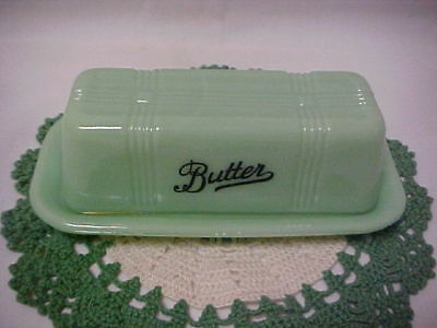 Jadeite Green Glass Butter Dish With Script Lettering