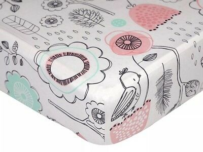 Lolli Living Crib Fitted Sheet Sparrow Birds Pink, Nursery Baby