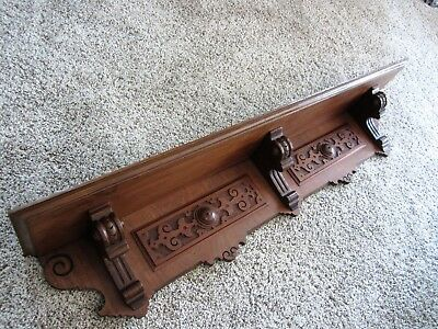 Carved Victorian Walnut Wall Shelf Mantle Clock Display Book Holder Plate Rack